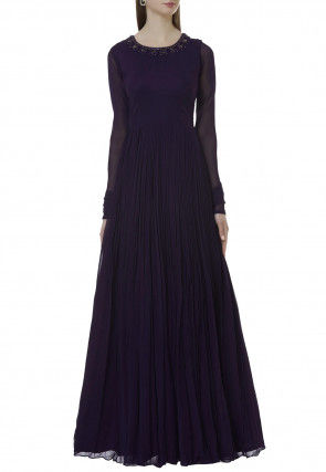 Hand Embroidered Georgette Flared Gown in Dark Purple