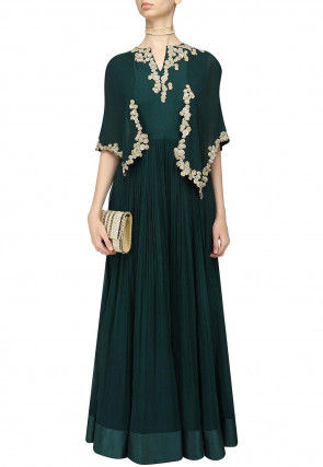 Hand Embroidered Georgette Flared Gown in Dark Teal Green