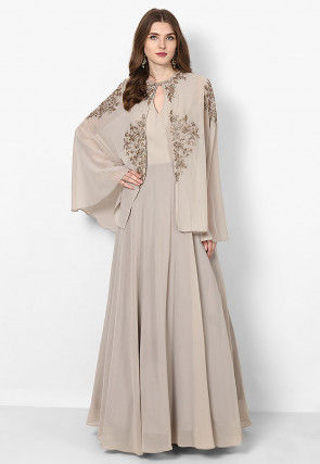 Hand Embroidered Georgette Flared Gown in Light Fawn