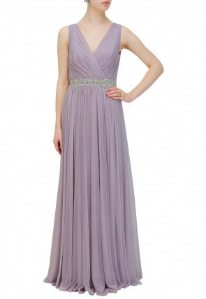 Hand Embroidered Georgette Flared Gown in Lilac