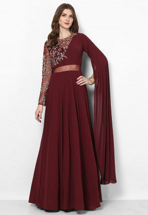 Hand Embroidered Georgette Flared Gown in Maroon