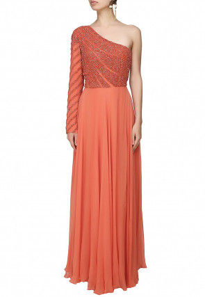 Hand Embroidered Georgette Flared Gown in Orange