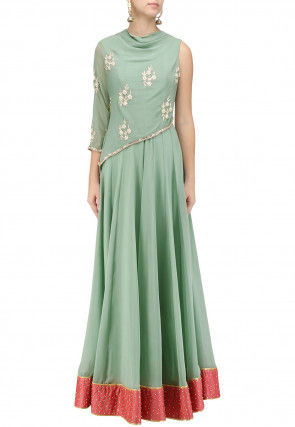 Hand Embroidered Georgette Flared Gown in Pastel Green