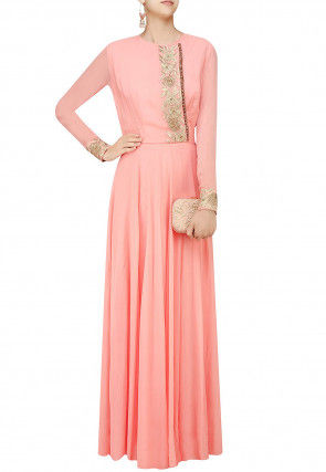 Hand Embroidered Georgette Flared Gown in Peach