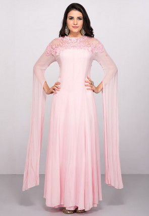 Hand Embroidered Georgette Flared Gown in Pink