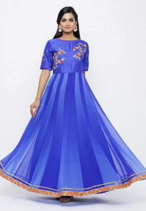 Hand Embroidered Georgette Flared Gown in Shaded Blue