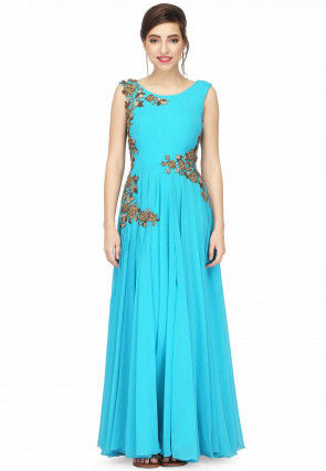 Hand Embroidered Georgette Flared Gown in Turquoise