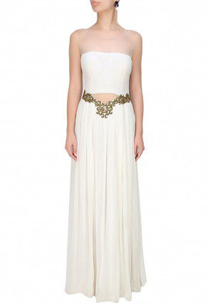 Hand Embroidered Georgette Flared Gown in White