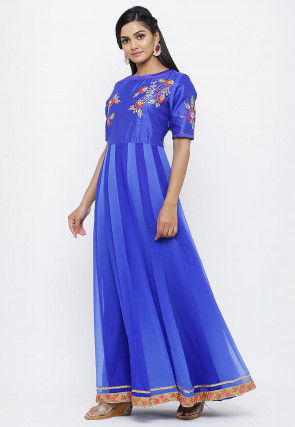 Hand Embroidered Georgette Flared Gown Set in Shaded Blue