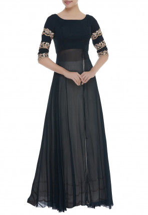 Hand Embroidered Georgette Flared Kurta Set in Dark Navy Blue