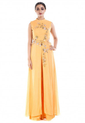 Hand Embroidered Georgette Front Slit Pakistani Suit in Orange