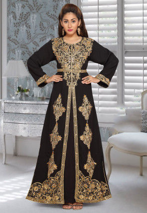 Hand Embroidered Georgette Front Slitted Abaya in Black