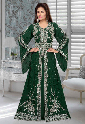 Hand Embroidered Georgette Front Slitted Abaya in Dark Green