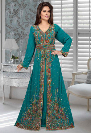 Hand Embroidered Georgette Front Slitted Abaya in Teal Blue