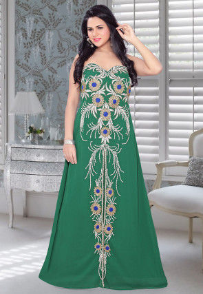 Hand Embroidered Georgette Fustan in Green