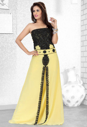 Hand Embroidered Georgette Fustan in Light Yellow