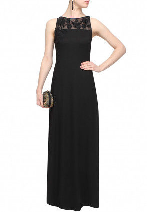 Hand Embroidered Georgette Gown in Black