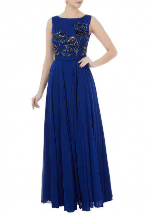 Hand Embroidered Georgette Gown in Blue
