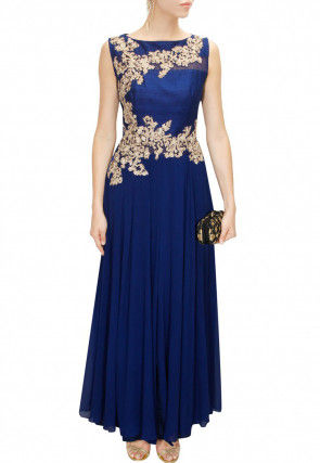 Hand Embroidered Georgette Gown in Dark Blue