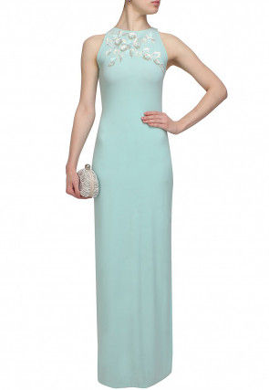 Hand Embroidered Georgette Gown in Light Blue