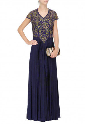 Hand Embroidered Georgette Gown in Navy Blue