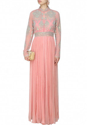 Hand Embroidered Georgette Gown in Pink