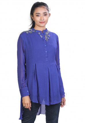 Embroidered Georgette High Low Kurti in Royal Blue