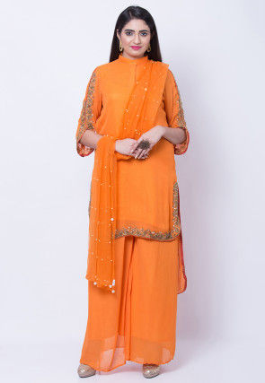 Hand Embroidered Georgette High Low Pakistani Suit in Orange