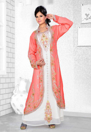 Hand Embroidered Georgette Jacket Style Abaya in Peach and White