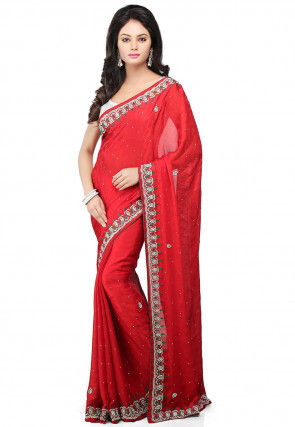 Hand Embroidered Georgette Jacquard Saree in Red