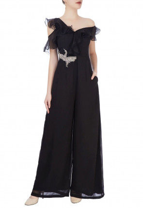 Hand Embroidered Georgette Jumpsuit in Black