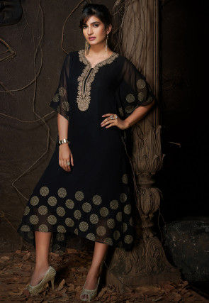 Hand Embroidered Georgette Kaftan in Black