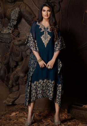 Hand Embroidered Georgette Kaftan in Dark Teal Blue