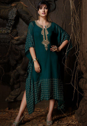 Hand Embroidered Georgette Kaftan in Dark Teal Green