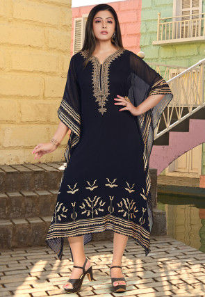 Hand Embroidered Georgette Kaftan in Navy Blue