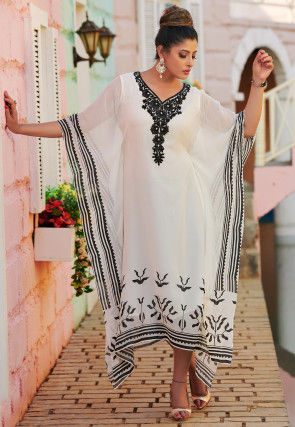 Hand Embroidered Georgette Kaftan in Off White