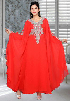Hand Embroidered Georgette Kaftan in Red
