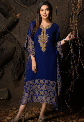Hand Embroidered Georgette Kaftan in Royal Blue