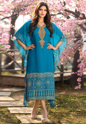 Hand Embroidered Georgette Kaftan in Teal Blue