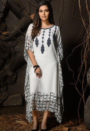 Hand Embroidered Georgette Kaftan in White