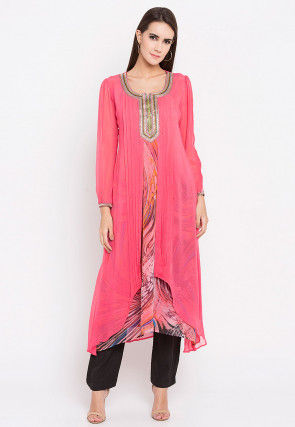 Hand Embroidered Georgette Kurta in Pink