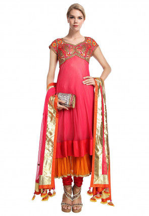 Hand Embroidered Georgette Layered A Line Suit in Pink