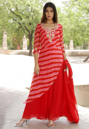 Hand Embroidered Georgette Layered Abaya Style Suit in Red