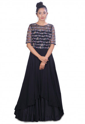 Embroidered Georgette Layered Gown in Black