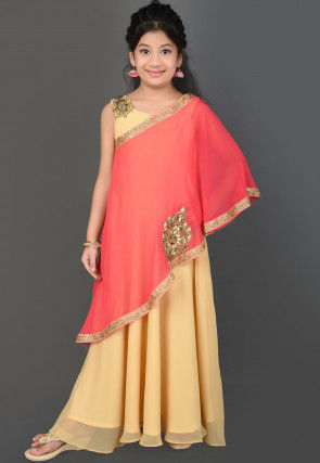 Hand Embroidered Georgette Layered Gown in Coral Pink and Beige