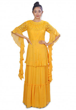 Embroidered Georgette Layered Gown in Yellow