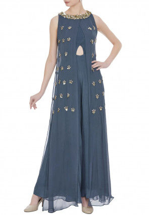 Hand Embroidered Georgette Layered Jumpsuit in Grey