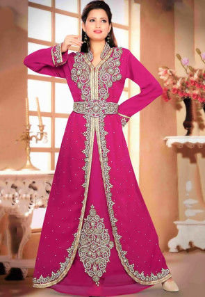 Hand Embroidered Georgette Layered Moroccan Abaya in Fuchsia
