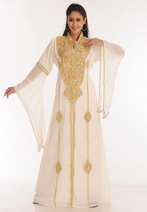 Hand Embroidered Georgette Layered Moroccan Abaya in Off White