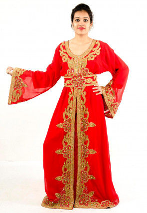 Hand Embroidered Georgette Layered Moroccan Abaya in Red